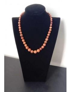 Collier pierre du soleil marron perles rondes dégradées