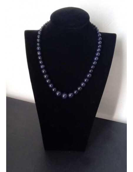 Collier pierre de soleil noire perles rondes dégradées