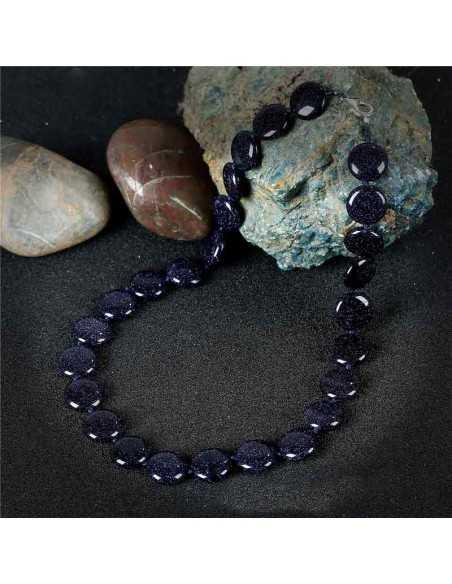 Collier pierre du soleil noire perles rondes plates