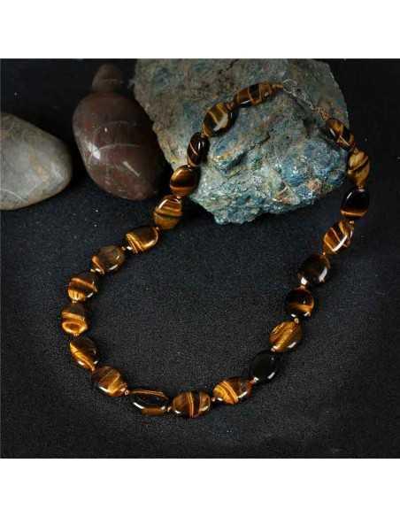 Collier oeil de tigre pierres ovales