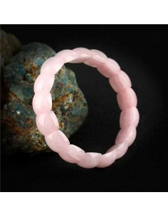 Bracelet quartz rose pierres ovales larges