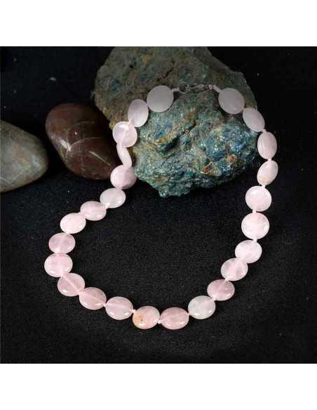 Collier quartz rose pierres pastilles rondes