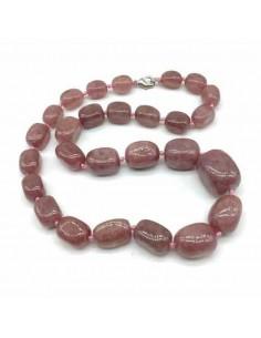 Collier quartz rose lavande pierre naturelle 45 cm