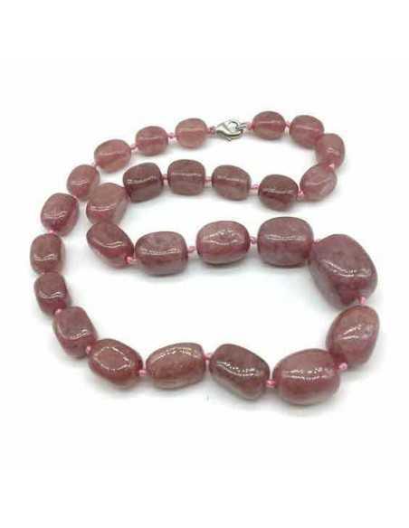 Collier quartz rose pierre naturelle 45 cm