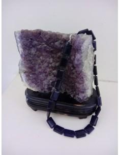 Collier pierre du soleil noire naturelle rectangles 44 cm