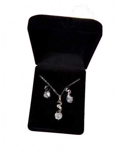 Parure en coffret collier pendentif torsade zircon et boucles