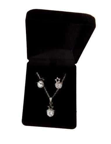 Parure en coffret collier pendentif étoile zircon et boucles