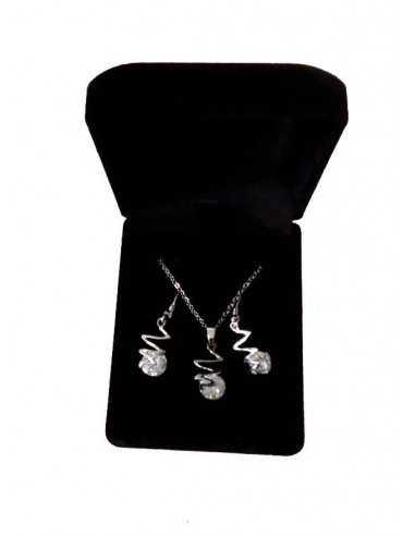 Parure en coffret collier pendentif zigzag zircon et boucles