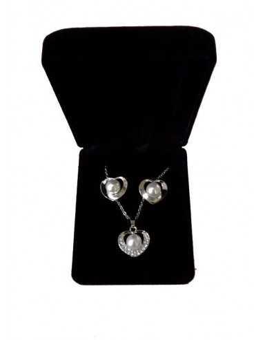 Parure en coffret collier pendentif coeur perle et boucles