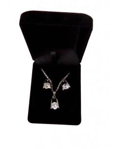 Parure en coffret collier pendentif géométrique zircon et boucles