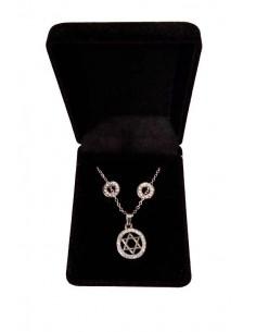 Parure en coffret collier pendentif étoile de David et boucles