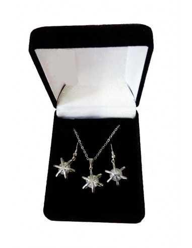 Parure en coffret collier pendentif zircon étoile et boucles