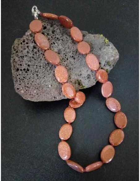 Collier pierre du soleil perles ovales
