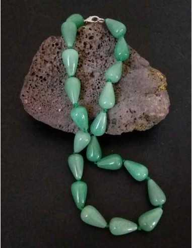 Collier aventurine pierres coniques larges
