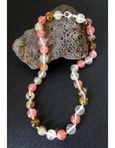Collier quartz hématoide pierres boules 10 mm