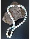 Collier amazonite et quartz rose mélangées boules 10 mm