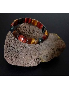 Bracelet oeil de tigre/ faucon/ taureau pierres rondes