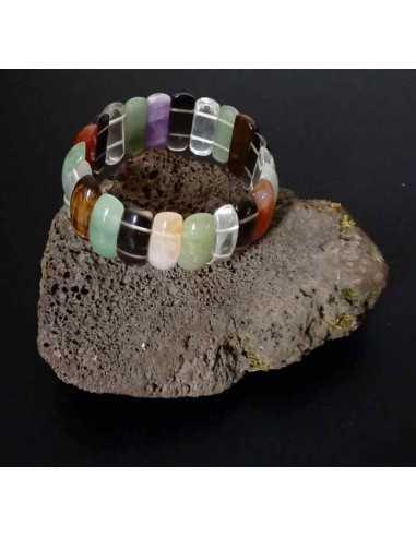 Bracelet mélange de pierres naturelles ovales allongées