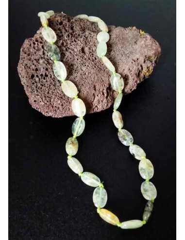 Collier prehnite pierres ovales allongées