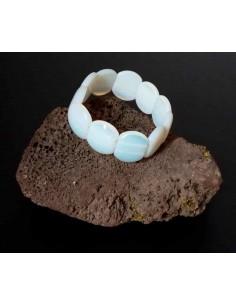 Bracelet pierre de lune perles ovales larges