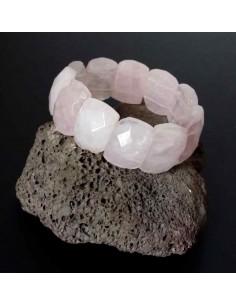 Bracelet quartz rose pierres larges facettées style manchette
