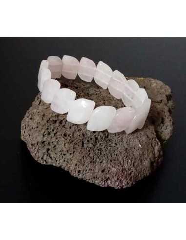 Bracelet quartz rose pierres reflets