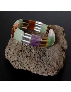Bracelet chakras pierres carrées larges