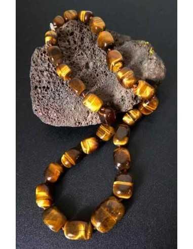 Collier oeil de tigre pierres cubiques larges