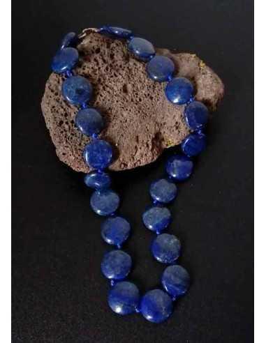 Collier lapis-lazuli pierres rondes