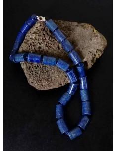 Collier lapis-lazuli pierres cubiques larges