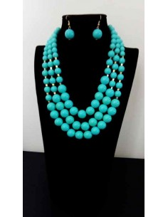 Parure bijou collier mutirangs perles fantaisies dégradées