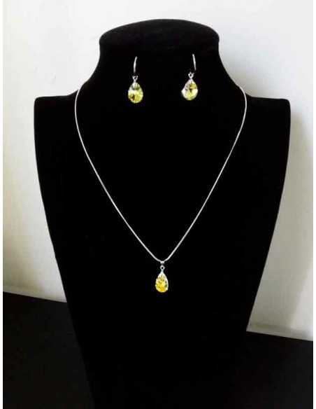 Parure bijoux Swarovski collier pendentif goutte + boucles