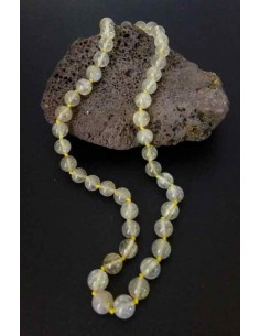 Collier quartz rutile pierres boules 10 mm