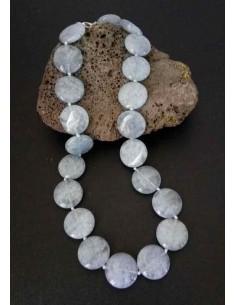 Collier aigue-marine pierres rondes plates