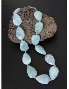 Collier aigue-marine pierres gouttes larges