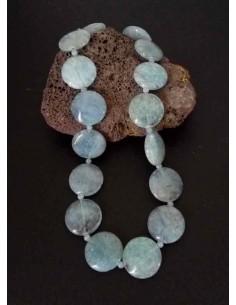 Collier aigue-marine pierres rondes larges plates