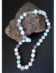 Collier quartz dream lavender pierres boules 10 mm