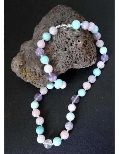 Collier quartz dream lavender pierres boules 10 mm