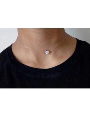 Collier transparent pendentif zirconiums