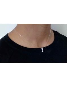 Collier transparent pendentif clef fantaisie zirconium