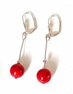Boucles d'oreilles pendantes pierre corail d'imitation