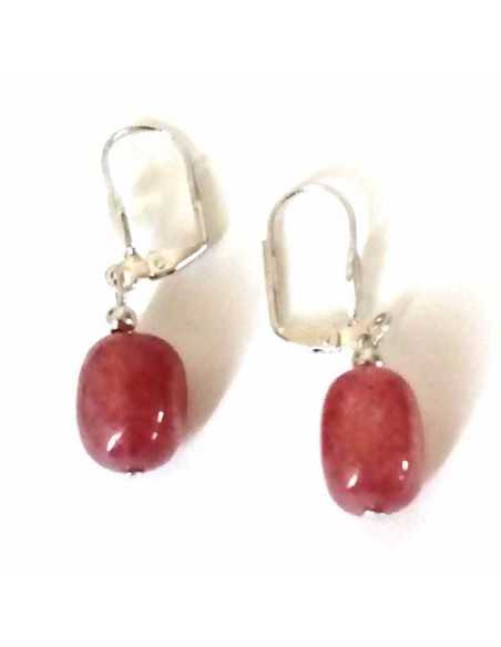 Boucles d'oreilles quartz rose lavande 1.5 cm