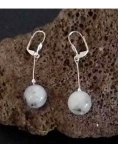 Boucles d'oreilles pendantes quartz à inclusion de tourmaline 4 cm
