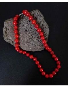 Collier corail perles rondes 8 mm pierre reconstituée 44 cm