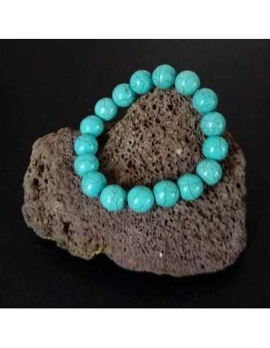 Bracelet turquoise reconstituée pierres rondes 12 mm