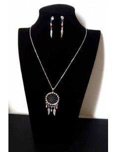 Parure bijoux acier collier ethnique pendentif mandala et boucles