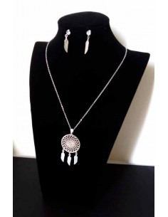 Parure acier collier ethnique pendentif mandala 3 plumes et boucles
