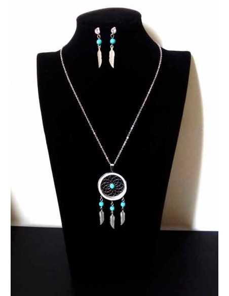 Parure acier collier ethnique pendentif mandalas turquoise et boucles
