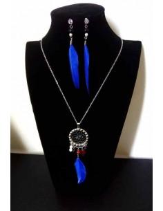 Parure acier collier ethnique avec plumes fantaisie et boucles