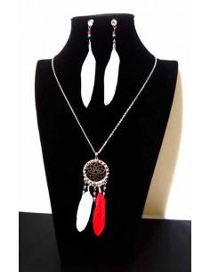 Parure acier collier à plumes style ethnique chic et boucles